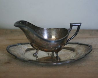 vintage silver plate gravy boat and under dish