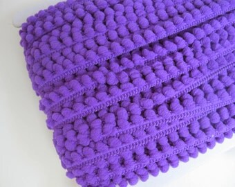 "Baby Pom Pom Ball Fringe 3/8"" 1 Yard ~  Purple"