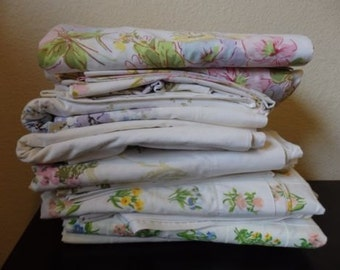 Large Lot Crisp Vintage Mid Century Mod Flowers Pequot Utica Bed Sheet Flat