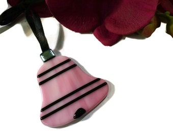 Diva Christmas Ornament, Fused Glass, Pink, Black, Sun Catcher, Retro, Old Fashioned, Girly