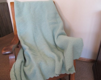 Lightly Felted Mint Green Wool Knitted Afghan 56 x 66 machine washable,Ready To Ship Today