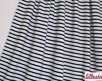 "Lillestoff Stretchjersey ""Stripes"" Ecru  / Navy, Maritime, by Lillestoff Organic Cotton Fabrics"
