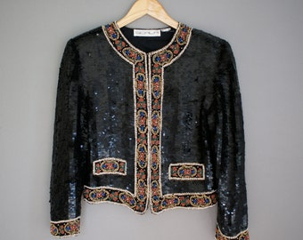 Vintage SCALA Designer Style SEQUIN Bolero COCKTAIL Jacket (s-m)