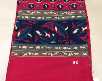 Red and Olive Print Ascot or Opera Scarf HK New With Tag Gift