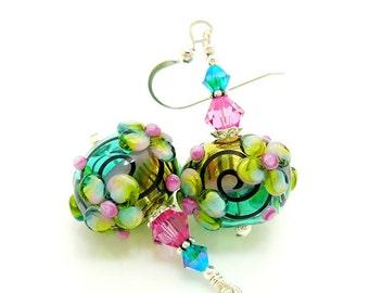Colorful Earrings, Floral Earrings, Hollow Earrings, Blown Glass Earrings, Lampwork Earrings, Glass Bead Earrings, Unique Earrings