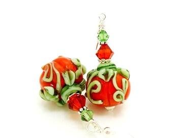 Pumpkin Earrings, Halloween Earrings, Fall Autumn Earrings, Lampwork Earrings, Beadwork Earrings, Glass Bead Earrings, Halloween Jewelry