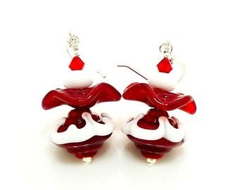 Red and White Earrings, Ruffle Earrings, Christmas Earrings, Lampwork Earrings, Unique Earrings, Beadwork Earrings, Fun Earrings