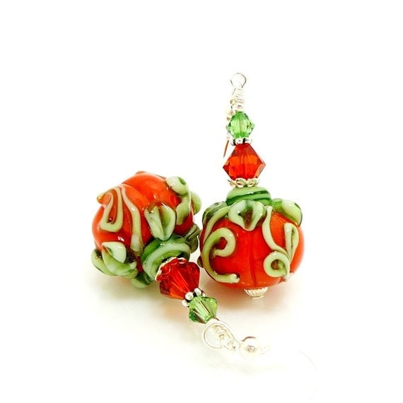 Pumpkin Earrings, Halloween Earrings, Fall Autumn Earrings, Lampwork Earrings, Beadwork Earrings, Glass Bead Earrings, Halloween Jewelry