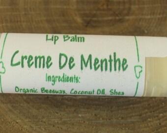 Handcrafted Creme De Menthe Flavored  Lip Balm,  Organic Beeswax  , Organic Shea Butter  Maine Made, Kids Lip Balm