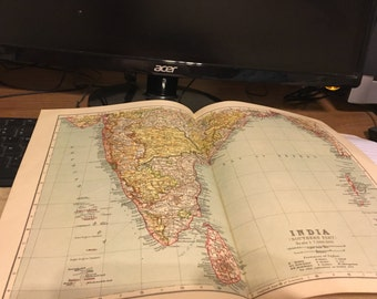 Circa 1910 india southern part map. Great for framing! Free shipping. 11x17 paper image.