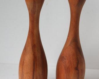Vintage Wood Candle Holders, Pair, Danish Modern