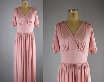 1970s Vintage Dress l 70s Peach Jersey Maxi Dress