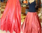 Vintage 1960s Burnt Orange Satin Skirt with side Pockets Ankle Length