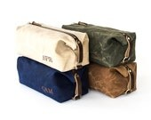 NO. 345 Men's Dopp Kit, Gift for Him, Personalized Groomsmen Gift, Waxed Canvas and Horween Leather Embroidered Monogram Affixed Straps