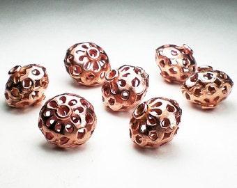 14mm Genuine Copper Beads 7 Pcs. GC-313