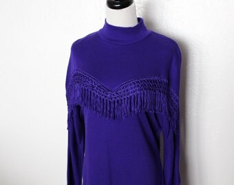 vintage purple fringe dress / southwestern tassel, long sleeve, warm, boho chic, 80 1980s dress, mock turtleneck