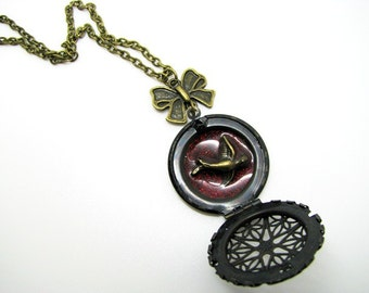 Filigree Swallow Locket Necklace