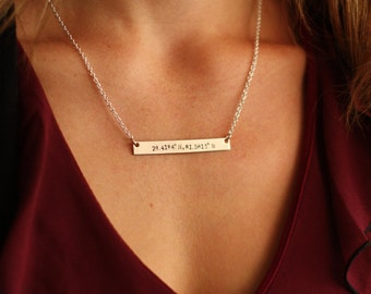 Coordinates Necklace - Best Friend Gift - Personalized Coordinate Silver Bar Necklace -Bridesmaid Gift -Latitude Longitude-Going Away