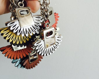 Leather Flower Keychains with Golden Hardware, Genuine Leather Keychains, Bags And Purses