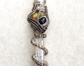 Dragon Star Fire Opal Black Sapphire Raw Crystal Illumination Pendant