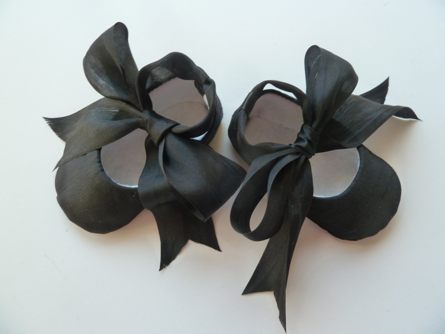 baby shoes black satin ballet slippers with silk ribbon