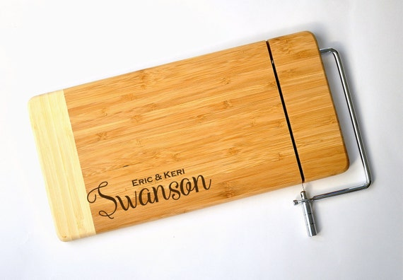 Personalized Cheese Cutting Board Laser Engraved Two Tone Bamboo 12x6
