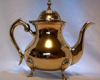 Tea Pot, Brass Tea Pot, Tea Pot, Quality Brass, Silver Lined