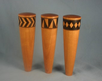 Wood Beer Keg Tap Handle - Made to Order - Cherry with Your Choice of Woodburned Bands 6-inches tall