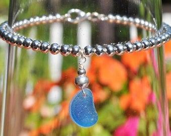 Sea Glass Jewelry Beach Bracelet with Blue Multi Sterling Silver 3549C