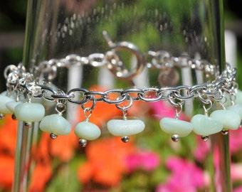 Sea Glass Jewelry Beach Bracelet in Jadeite with Sterling Silver 3438