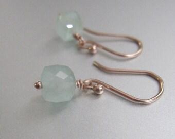 Tiny Aquamarine Cube Solid 14k Rose Gold Drop Earrings