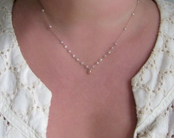 Heshi Seed Pearl Solid 14k Rose Gold Drop Necklace
