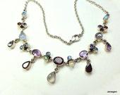 SALE, Rainbow Moonstone,Garnet,Amethyst,Peridot,Blue Topaz, Vintage Nicky Butler,Sterling Silver Necklace, Blue Flash,Natural Gemstones