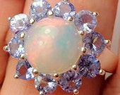 Welo Opal Ring,Natural Gemstone,Creamy,Genuine LARGE Opal, Yellow,Peach,Green Fire,Ethiopian Opal,Tanzanite Halo,Sterling Silver/Rhodium