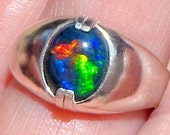 Sz 9 3/4, Black Welo Opal, Men's Ring,Ethiopian Opal Ring,Multi Color,Natural Gemstone,Blue,Green,Red,Yellow,Orange,Color Play Opal Ring