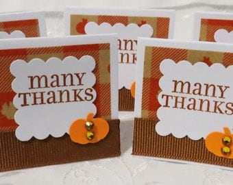 Handmade Mini Thank You Cards for Fall with Pumpkins, Set of 26, Orange and Brown, Mini Cards, Thank You Cards, Pumpkins