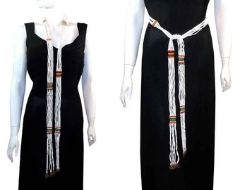 Vintage Masai African Micro Glass Beads Sash Belt or Necklace Sautoir Kenya Tribe White // Coins