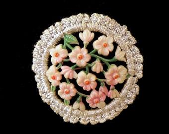Vintage Celluloid Flower Bouquet Pin Brooch with Crochet Boarder