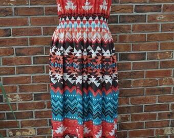 Maxi Dress Tribal Smocked Shirred Boho Rustic Dress Boho Chic Dress