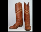 Miss Capezio tall cowgirl boots ~ 7 ~ 7.5 ~ Made in USA ~ caramel and toffee brown chevron stripes ~ stacked wood heels ~ 70s 80s