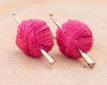 Crochet Hook Earrings, Fuschia Dark Pink, Yarn Ball, Crochet Gift, Mini Hook, Crochet Jewelry, Silver Stud, Post, Blue, White, Custom Color