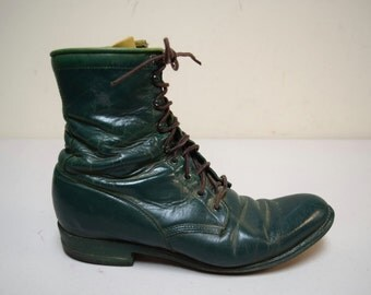 VINTAGE JUSTIN Hand Painted Distressed Green Lace Up Ankle Boots Size 8 1/2 M