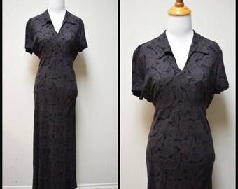 VINTAGE B MOSS Clothing Company Black Brown Paisley Bias Cut Ankle Length Dress Size 11/12