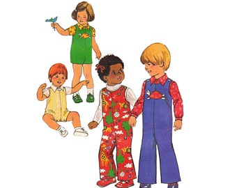 70s Toddlers Overalls Rompers and Shirt Pattern Simplicity 7322 Vintage Sewing Pattern Size 4 Breast 23 inches UNCUT Factory Folds