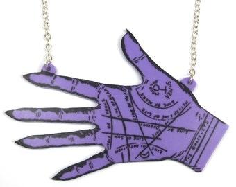 Large Purple Palmistry Hand Necklace