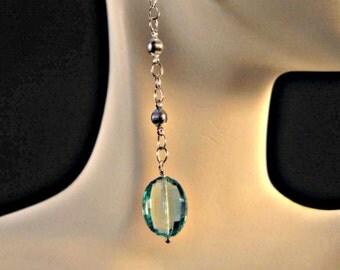 Gemstone dangle earrings,drop earrings,silver earrings,blue quartz earrings,gemstone earrings,gemstone jewelry,silver jewelry,silver drops