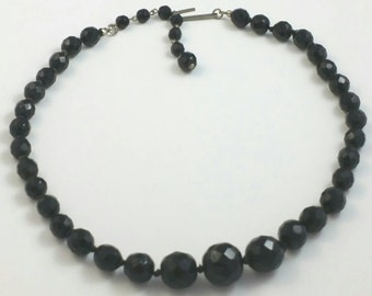 Black Faceted Glass Bead Choker Necklace Unsigned