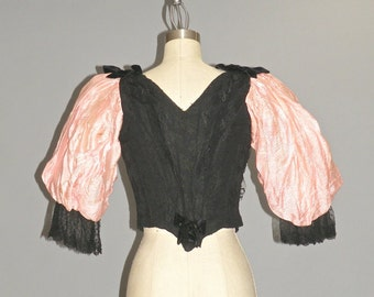 Victorian Bodice, Steampunk Top, 1890s Bodice, Antique Silk and Lace Top, XXS