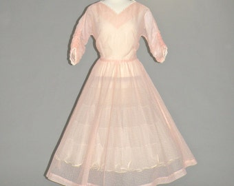 50s Dress, 1950s Dress, Full Skirted Pink Flocked Swiss Dot Party Dress