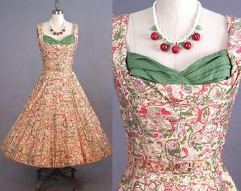 50s Dress, 1950s Rockabilly Dress, Hand Painted 50s Novelty Print Dress, Kramer Original XS - S
